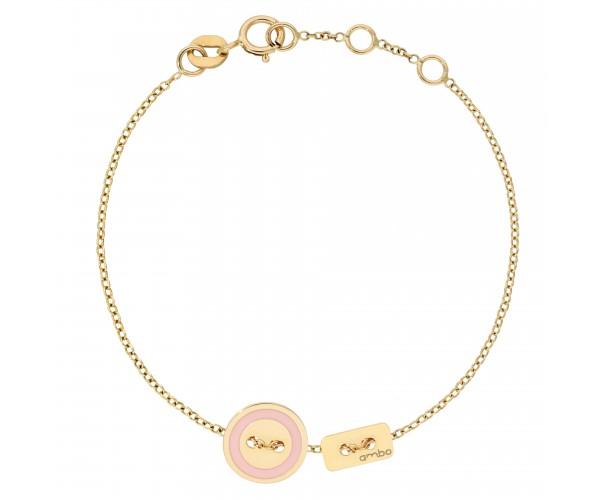 Bracelet Cordon ARGENT JAUNE ivoire-corail AMBO