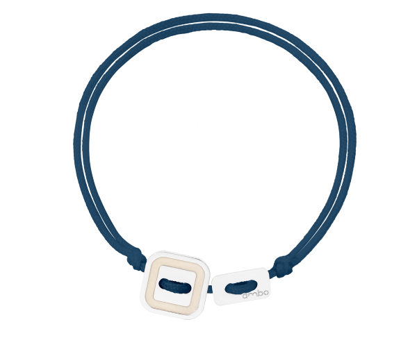 Bracelet Cordon ARGENT BLANC azzuro-gris anthracite AMBO