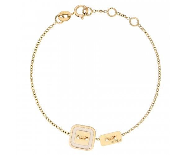 Bracelet Cordon ARGENT JAUNE ivoire-ivoire AMBO