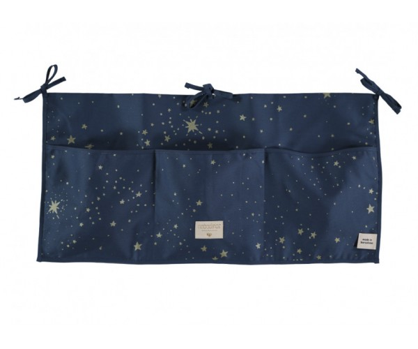 NOBODINOZ - MERLIN CRIB ORGANIZER 30X60 GOLD STELLA / NIGHT BLUE